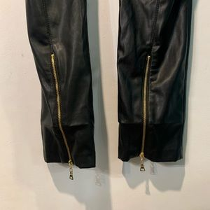 Caché faux leather gold zipper on back of pants